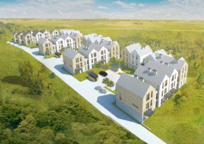 Osiedle 33 budynków mieszkalnych. Wieliczka ul. Różana. Firma MODULAR